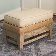 exposed wood and burlap ottoman shades of light