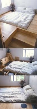 floor level bed raised floor level to make sotrage bed then recessed bed to create