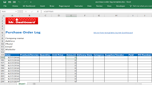 Free Purchase Order Template Excel Free Purchase Order Template Form And Sle Mr Dashboard