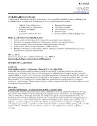 Resume Summary Statement Samples by Example Qualifications Summary Administrative With Strenghts And