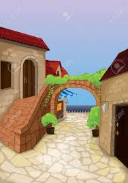 illustration of a colony of houses with artistic gate royalty free