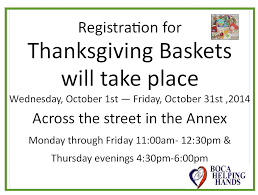 registration dates to sign up for thanksgiving baskets boca