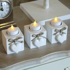 set of three wooden tealight holders melody maison