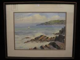 oil painting signed and dated by the artist edgar grinsted 1971 coastal sailing scene
