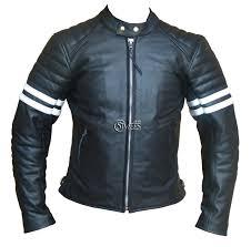 white motorbike jacket white striped cafe racer style retro leather jacket stylees co