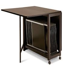 multipurpose table with storage folding table with chair storage inside and wheels plus dark brown