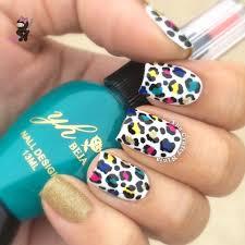 rainbow cheetah print nails the crafty ninja