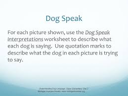 dog speak for each picture shown use the dog speak