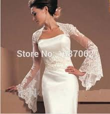 ivory trumpet style long sleeves lace bolero brides appliques
