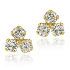 cluster stud earrings icz stonez 10k yellow gold cubic zirconia cluster stud earrings