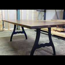Black Walnut And Cast Iron Machine Leg Dining Table Industrial - Dining room tables los angeles