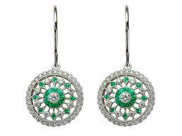 emerald earrings uk emerald diamond earrings w1 diamond emerald cluster earrings