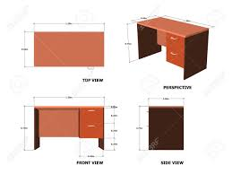 dimension bureau office table plan front side perspective view with dimension royalty