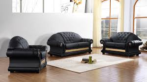 Traditional Leather Sofas Divani Casa Cleopatra Traditional Black Leather Sofa Set Ital