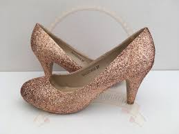 wedding shoes glitter gold glitter shoes copper glitter mid heel bridal