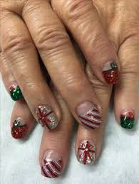 christmas nails red sparkle u0026 green glitter candy cane with bling