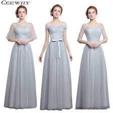 light gray bridesmaid dresses ceewhy light gray 4 style one shoulder a line tulle 2017 elegant