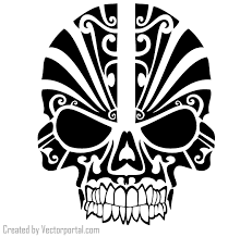 tribal skull tattoo design vector 123freevectors
