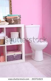 girls luxury pink bathroom interior no stock vector 46473457