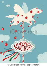 Merry Birthday Card Carousel Horse And Apples Happy Birthday Card Birhday Merry