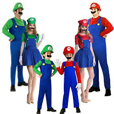 Mario Luigi Halloween Costumes Couples Halloween Cosplay Super Mario Luigi Bros Costume Kids