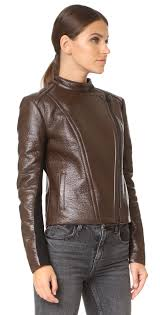 yigal azrouel leather jacket with fur collar shopbop