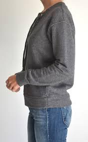 mother denim the tie up easy sweatshirt in grey