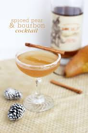 martini pear spiced pear and bourbon cocktail