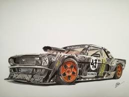 supercar drawing ken block u0027s gymkhana mustang car drawing by antoine mouton