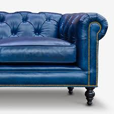 Blue Leather Chesterfield Sofa The Fitzgerald Classic Chesterfield Of Iron Oak