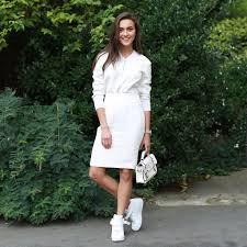 how to wear dress and sneakers popsugar fashion