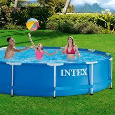 Garten Pool Aufblasbar Intex Aufstellpool Frame Pool Set Rondo Ohne Filterpumpe Blau ø