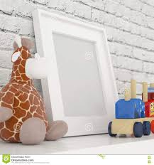 white photo frame mock up in children room stock photo image