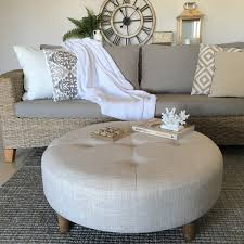 large 90cm ecru round ottoman coffee table tufted hampton u0027s french