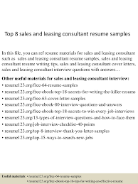 sample sales and marketing resume top8salesandleasingconsultantresumesamples 150723085717 lva1 app6891 thumbnail 4 jpg cb 1437641883