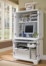 White Wood Computer Desk Furniture Computer Desk With Hutch With Glass Windows Design With