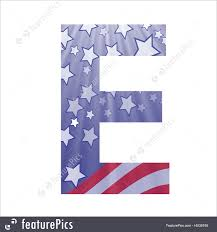 letters and numbers american flag letter e stock illustration
