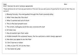 spag worksheet full stops question and exclamation marks by