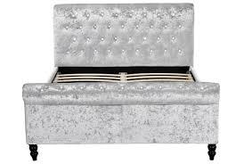 Grey Velvet Chesterfield Sofa by St James Sleigh Bed Black Or Silver Crushed Velvet Double Or