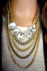 earring chain necklace images Heather layered chain jewel necklace and earring set ava adorn jpg