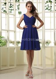 cheap royal blue bridesmaid dresses us 99 99 cheap royal blue v neck ruched chiffon knee length