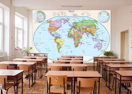 primary learning classroom world map wall mural primary learning world political classroom map wall mural in room