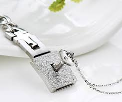 lock necklace with key images Lock and key bracelet and heart key cz necklace set in titanium jpg