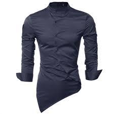 2018 trendy s casual shirts sleeve mandarin collar