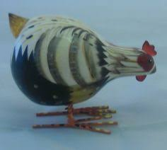 rocking rooster chicken ornament small black and white hb