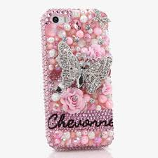 Name Style Design by Bling Cases Personalized Name Custom Made Crystals 3d Pink