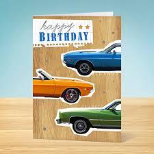 birthday card classic cars garlanna greeting cards