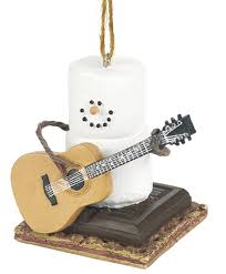 amazon com snowman ornament marshmallow snow man playing guitar