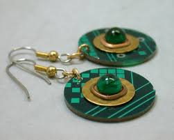 eco earrings recycled eco friendly christmas circuit board earrings