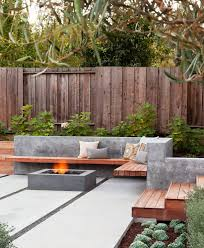 modern concrete fence design patio contemporary with fire pit